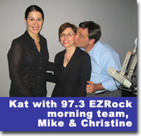 Kateryna Spiwak with 97.3 EZRock morning team Mike & Christine following an interview about Valentine's Day tips for singles.