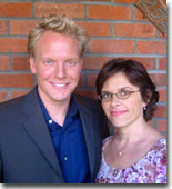 Kat Spiwak with co-host Jonathan Torrens on the set of the W Network's 'Living Romance' series. Kat coached a guest on the dynamics of an upcoming date.